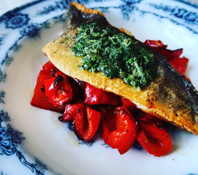 Sea Bass with Roasted Peppers & Salsa Verde