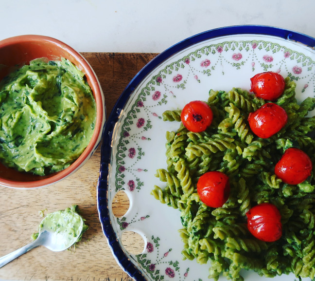 Green Pea Pasta with Avocado Pesto and Balsamic Cherry Toms