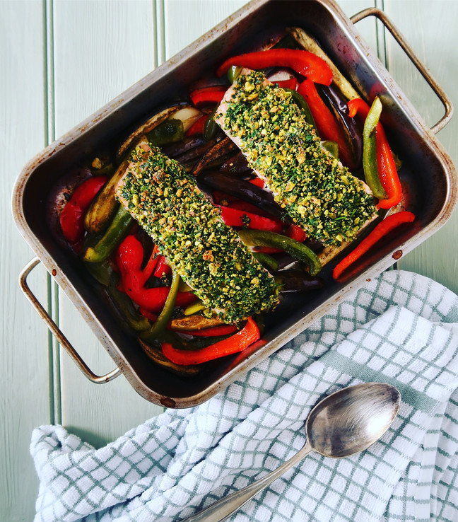 Pistachio & Herb Crusted Salmon with Mediterranean Veg