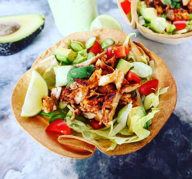 Chipotle Chicken Salad in a Homemade Taco Bowl