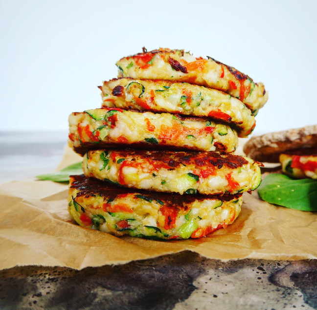 Halloumi, Red Pepper & Courgette Fritters