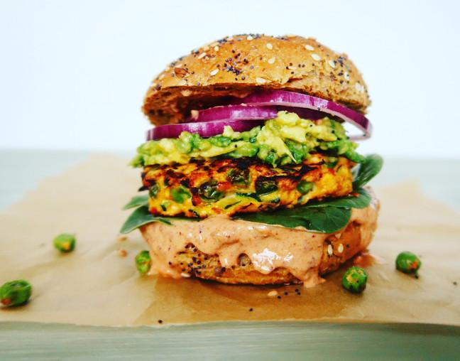 Chicken & Veggie Burger with Chipotle Sauce