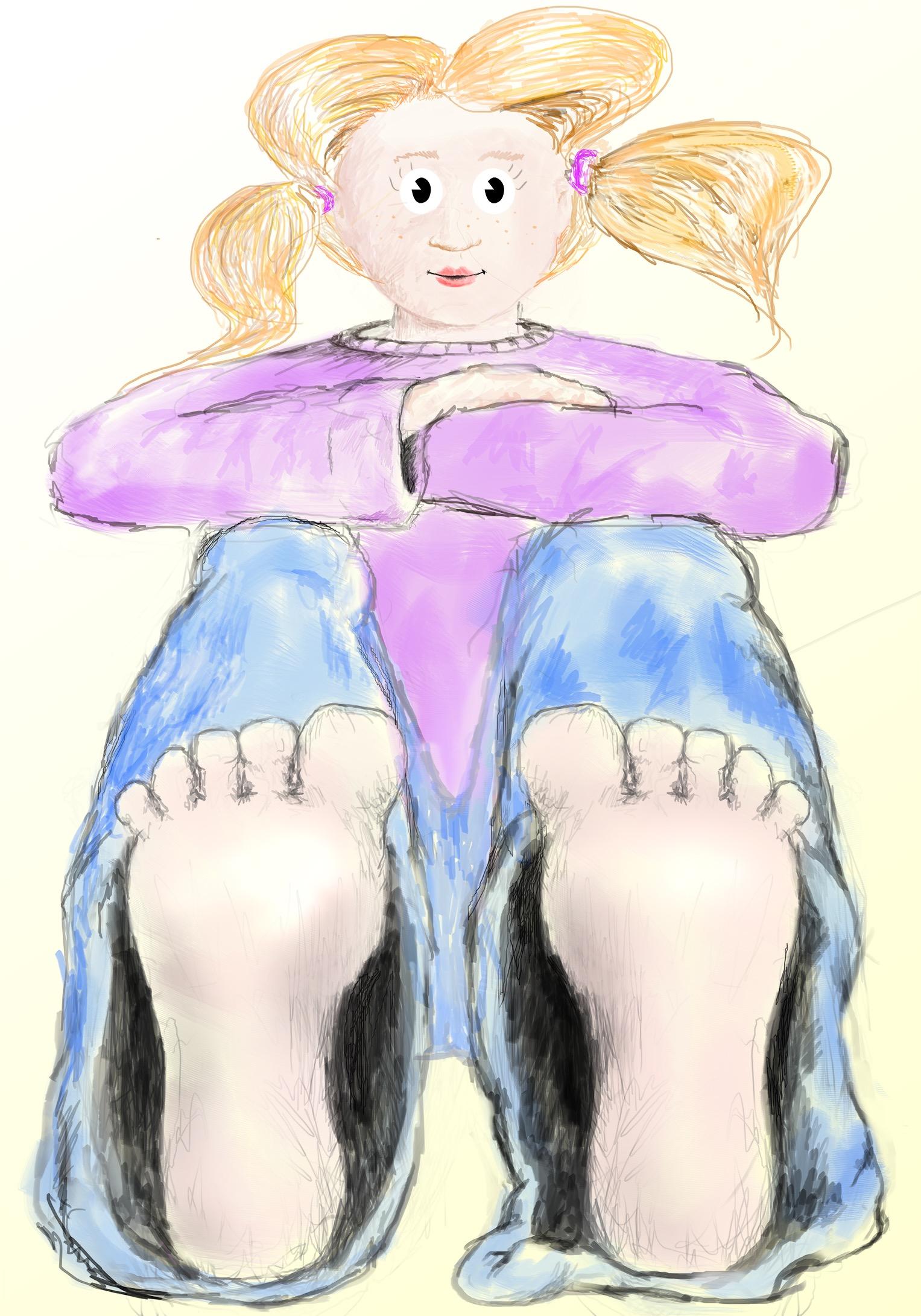 ילדה עם כפות רגליים