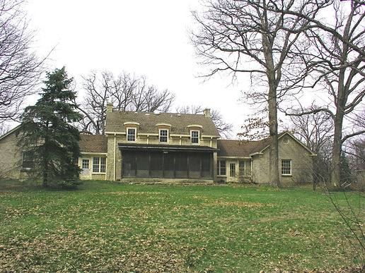 photo of McKee House, back view in 2006, Chuchill Woods Forest Preserve, DuPage County IL