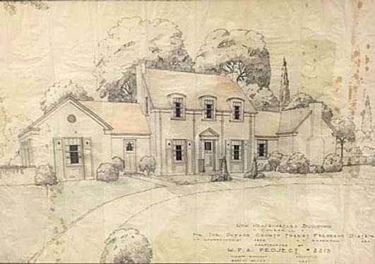 Architectural rendering of McKee House at Churchill Woods Forest Preseve by Harold Kohlman