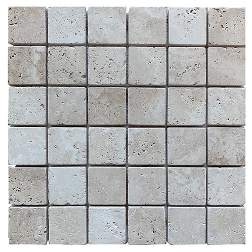"Ivory Tumbled 2"" x 2"" Travertine Mosaic Tile"