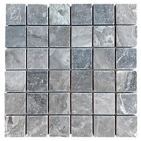 "Silver Tumbled 2"" x 2"" Travertine Mosaic Tile"