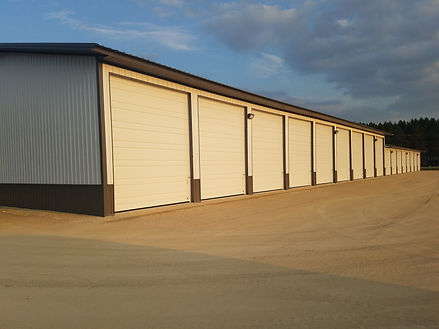 Storage units have large doors to allow for trailer and RV storage