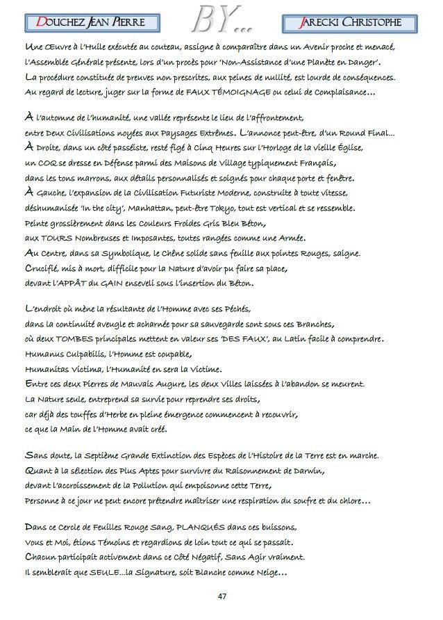 TEXTE POINTILLISME LITTERAIRE DOUCHEZ JEAN PIERRE DE JARECKI CHRISTOPHE