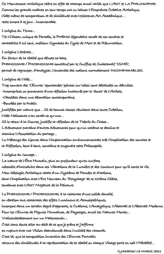 MOUVEMENT ARTISTIQUE JARECKI CHRISTOPHE PHOENIXISME