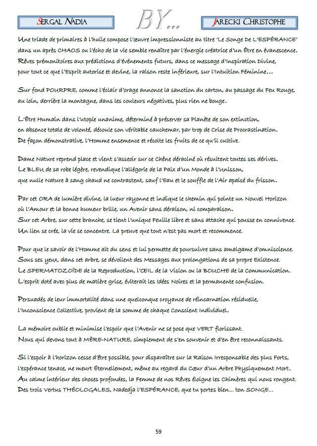 TEXTE COMPTE RENDU POINTILLISME LITTERAIRE NADIA SERGAL DE JARECKI CHRISTOPHE