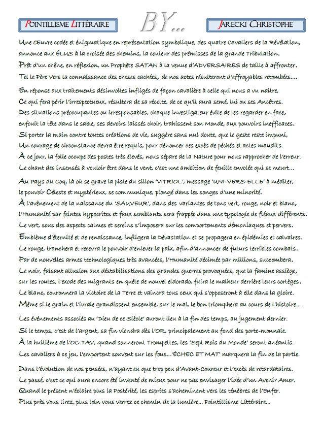POINTILLISME LITTERAIRE TEXTE DE JARECKI CHRISTOPHE