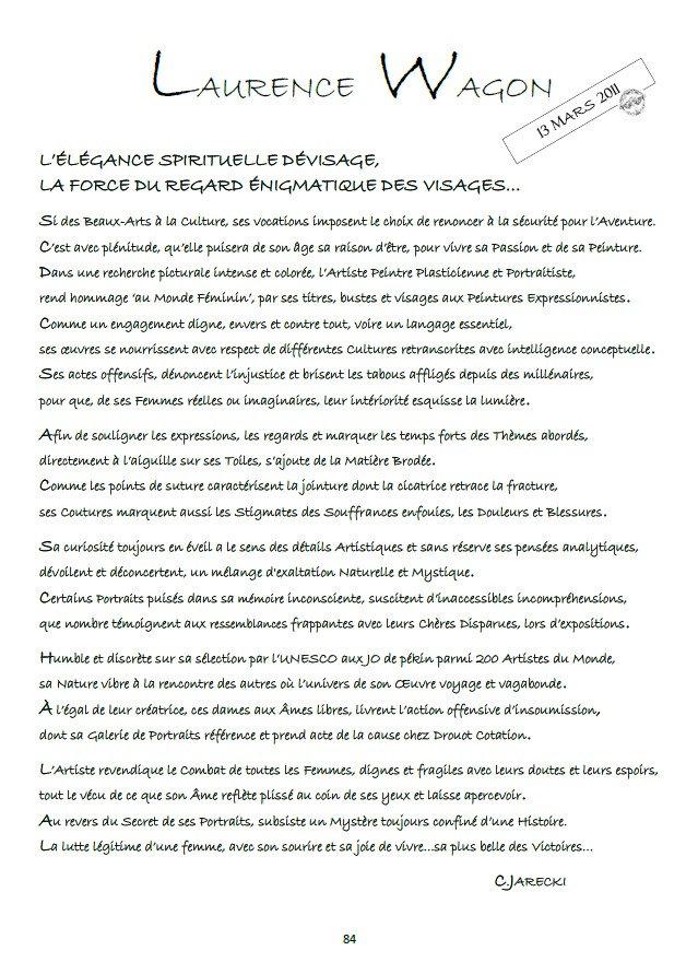 TEXTE BIOGRAPHIQUE LAURENCE WAGON ARTISTE PLASTICIENNE DE JARECKI CHRISTOPHE