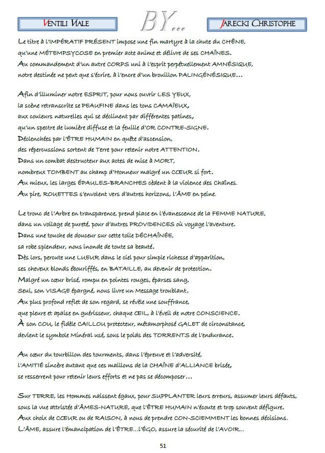 TEXTE COMPTE RENDU POINTILISME LITTERAIRE VENTILI VIALE DE JARECKI CHRISTOPHE