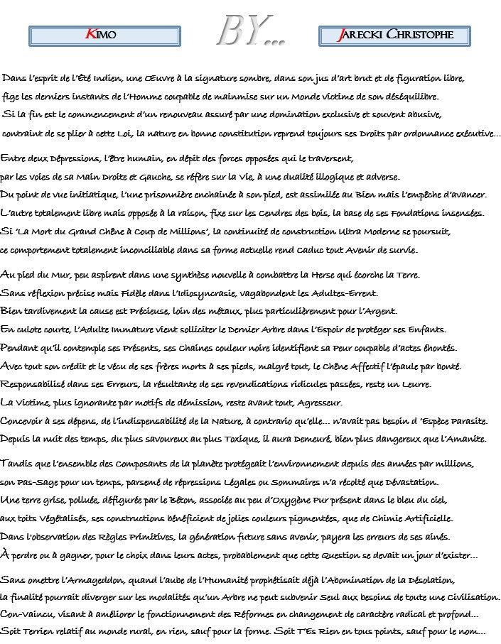 TEXTE KIMO POINTILLISME LITTERAIRE DE JARECKI CHRISTOPHE