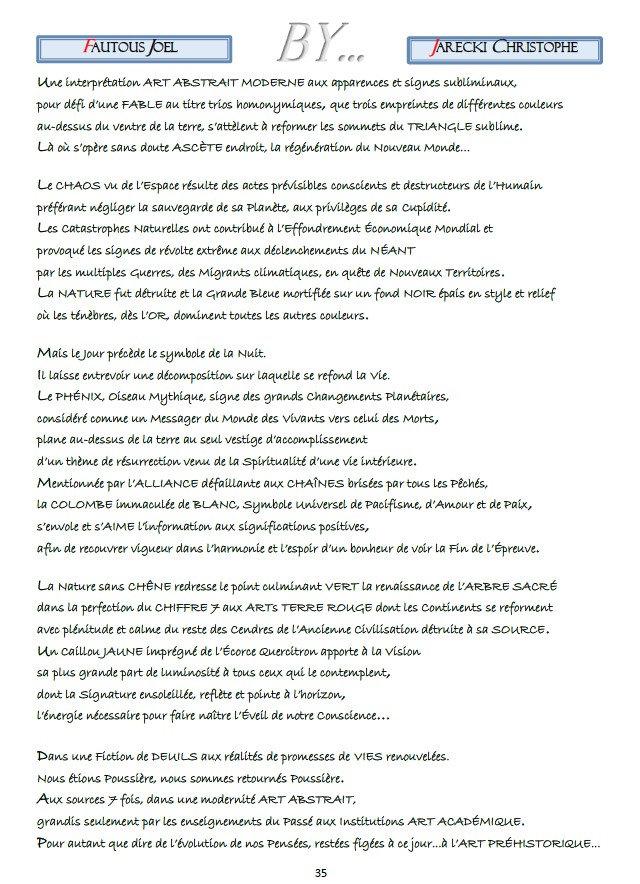TEXTE COMPTE RENDU POINTILLISME LITTERAIRE JOEL FAUTOUS DE JARECKI CHRISTOPHE