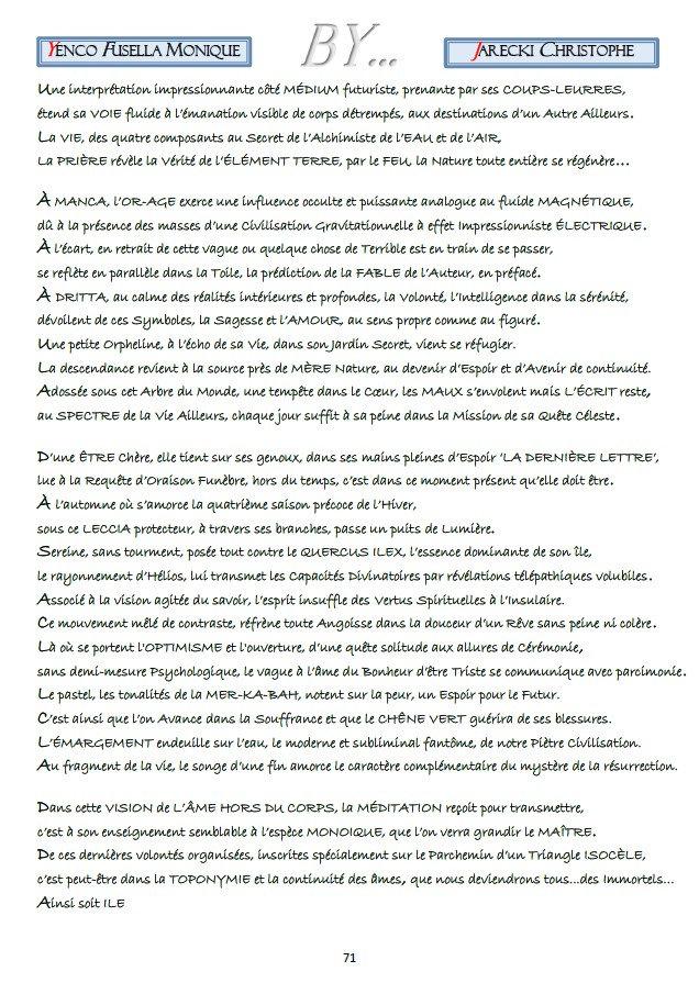 TEXTE COMPTE RENDU POINTILLISME LITTERAIRE YENCO FUSELLA MONIQUE DE JARECKI CHRISTOPHE