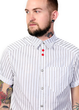 Button Front S/S - Pin Stripe Shirt