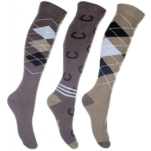 Chaussettes à motifs HKM Cardiff Lot de 3 Taille 35-38