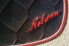 Broderie sur tapis de dressage en velours noir