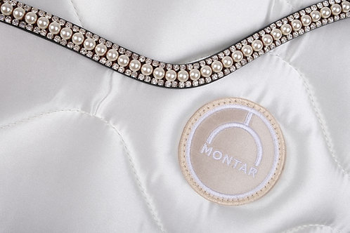 Frontal Montar Perles Swarovski ivoire et cuir noir