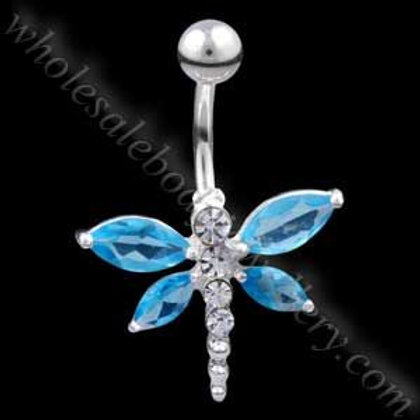 Large Dragonfly Silver & Steel Navel (N066)