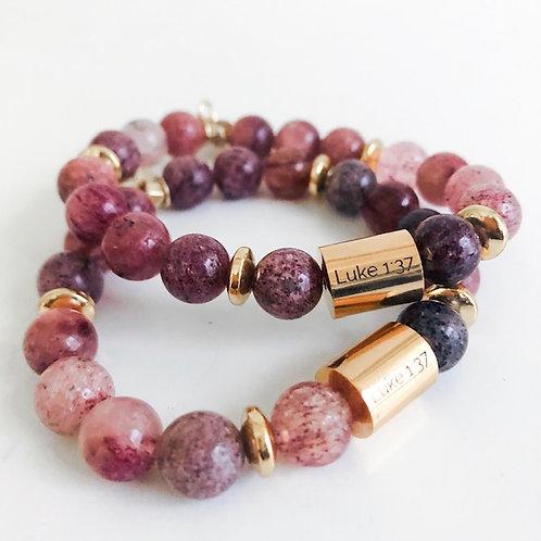 Strawberry Quartz Luke 1:37 Bracelet