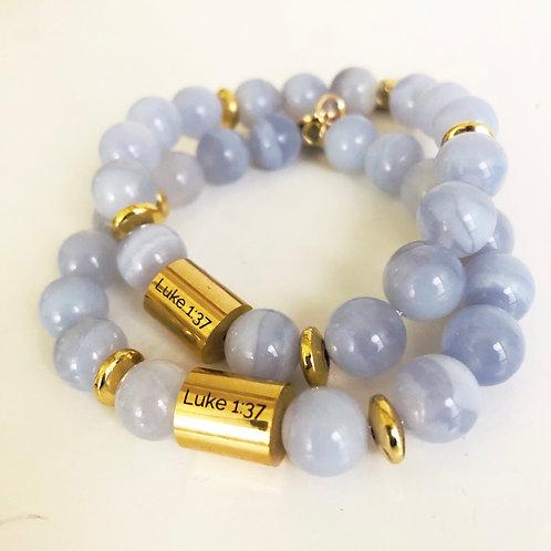 Chalcedony Luke 1:37 Bracelet
