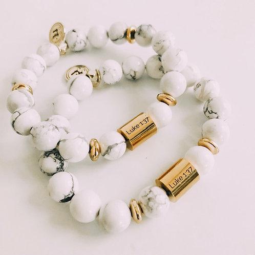 Howlite Stone Luke 1:37 Bracelet