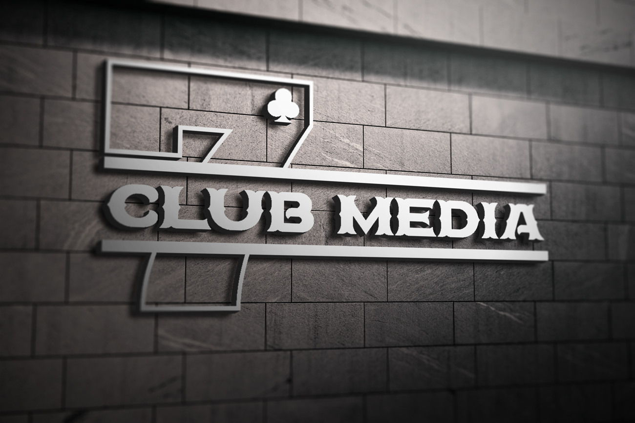 7clubmedia logo mockup on the wall