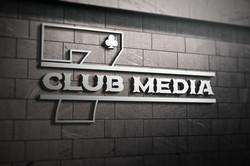 7clubmedia logo mockup on the wall