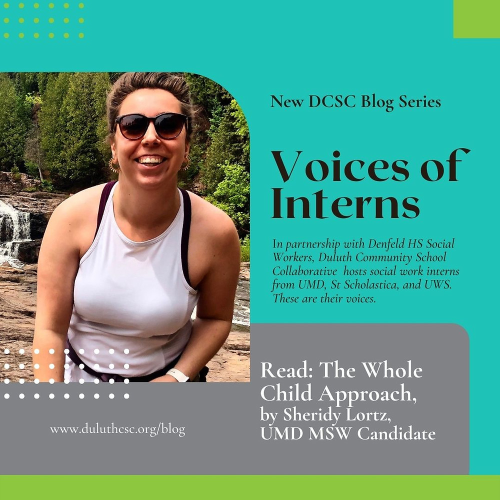 Image of person next to text 'New DCSC Blog Series: Voices of Interns. In partnership with Denfeld HS Social Workers, Duluth Community School Collaborative hosts social work interns from UMD, St. Scholastica, and UWS. These are their voices. Read: The Whole Child Approach, by Sheridy Lortz, UMD MSW Candidate. www.duluthcsc.org/blog'