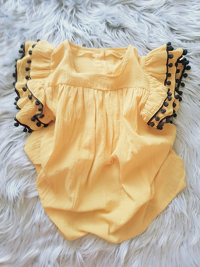 Mustard Dress With Navy Tassels