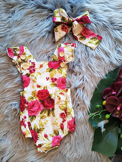 Red Floral Romper With Headband