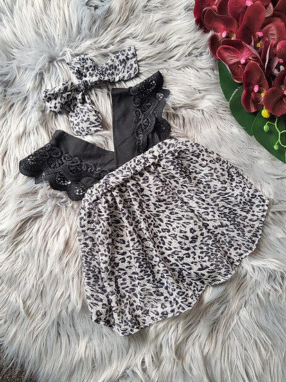 Black Lace Romper & Snow Leopard Skirt One Piece With Headband