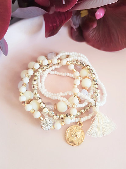 6 Piece Beaded Tassel Bracelet
