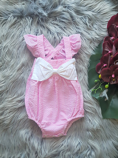 Pink & White Stripe Romper With Bow