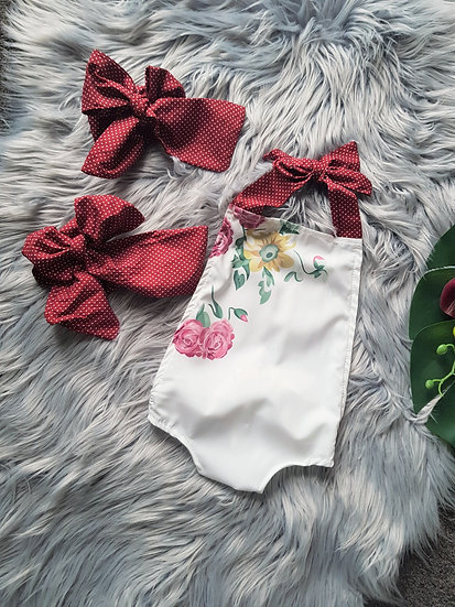 White Floral Backless Halter Romper With Red Poka Dots Headband & Belt