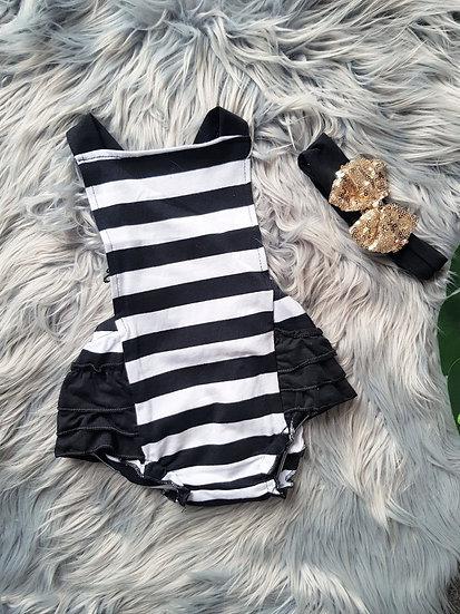 Black & White Stripe Lace Romper With Black & Gold Headband