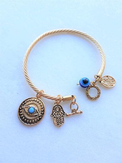 Gold Braided Evil Eye Charm Bracelet