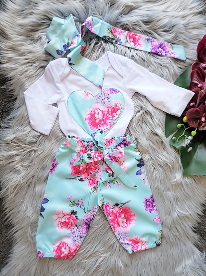 3 Piece White & Mint Romper With Headband