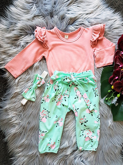 3 Piece Peach & Mint Romper With Headband