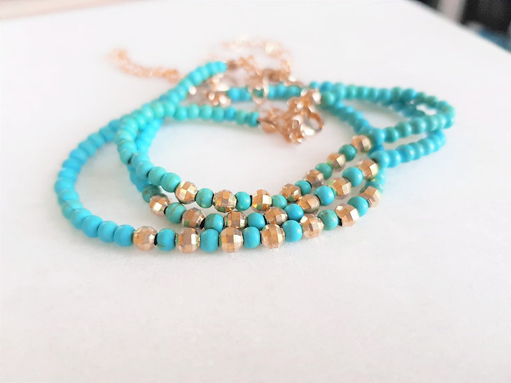 Turquoise & Gold Beaded Bracelet