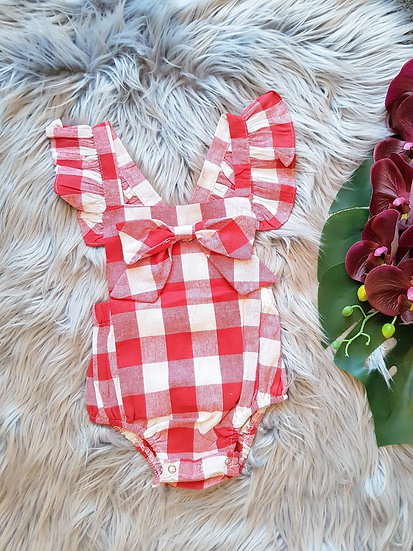 Red & White Checkered Romper With Bow