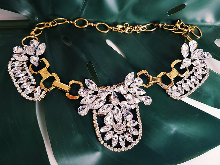 Gold & Crystal Statement Necklace