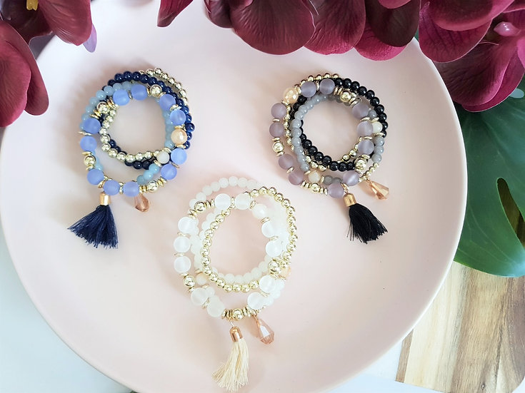 4 Piece Beaded Tassel Bracelet