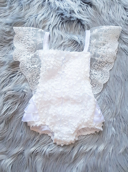 White Lace Romper With Pink Bow