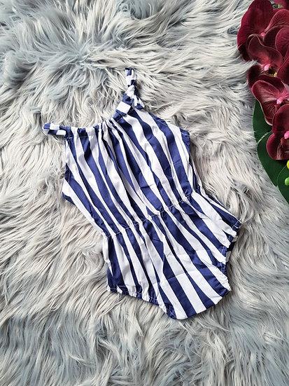 Navy Blue & White Stripe Jumpsuit