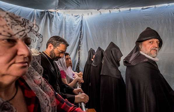בטקס לכבוד עליית ישו לשמיים בכנסייה בהר הזיתים בירושלים