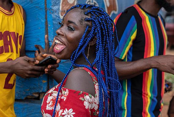 ראש כחול והרבה שמחה     בגאנה